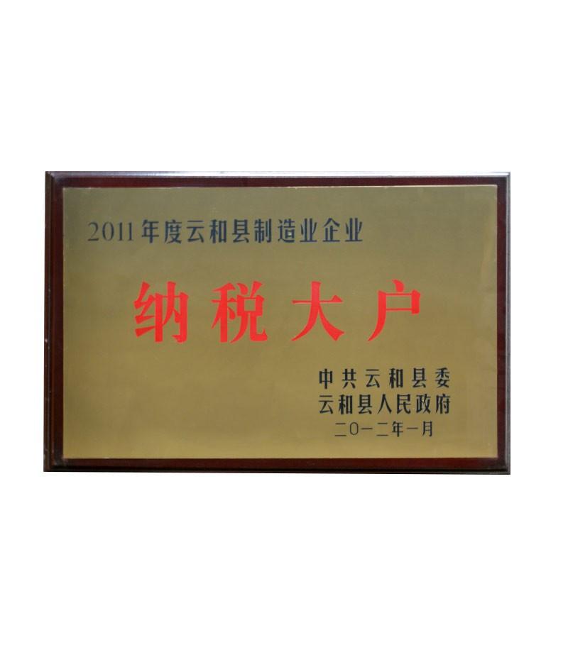 2011年度云和县制造业企业纳税大户
